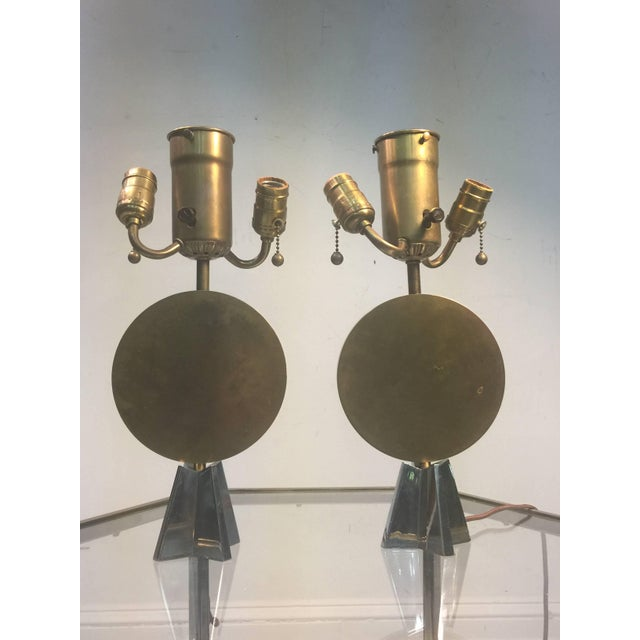 1930s Pair of Art Deco Bronze Cubist Lamps For Sale - Image 5 of 10