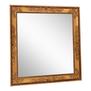 Empire Gold Leaf Wood Wall Mirror For Sale