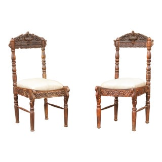Paired Anglo Indian Peacock Chairs For Sale