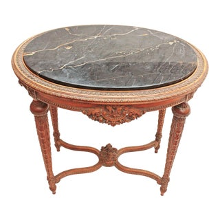 Oval Deco Carved Fruitwood Occasional Table For Sale