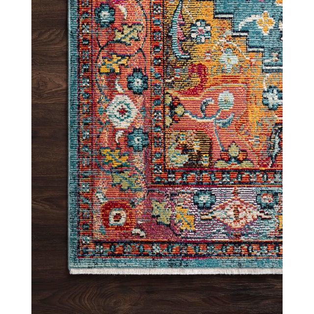 "Transitional Loloi Rugs Silvia Rug, Blue / Fiesta - 9'3""x13'3"" For Sale - Image 3 of 4"