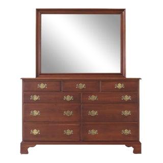 1975 Henkel Harris Cherrywood Dresser & Matching Mirror For Sale