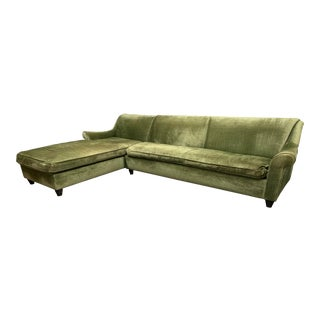 A. Rudin Rolled Arm Green Chenille Sectional For Sale