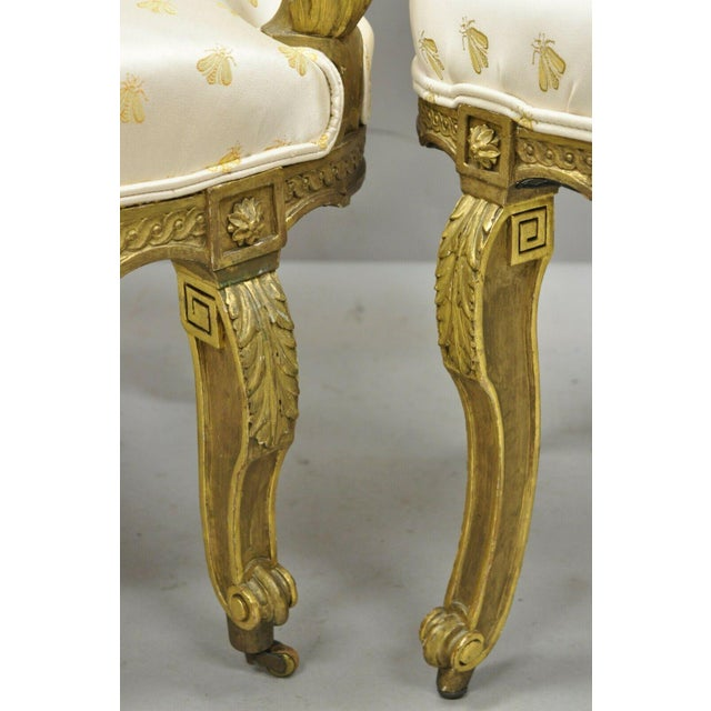 19th Century French Louis XV Style Gold Gilt Wood Parlor Salon Suite - 3 Pieces For Sale - Image 11 of 13