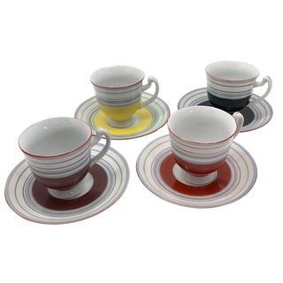 Colorful Hand-Painted Japanese Demitasse Cups - Set of Four For Sale