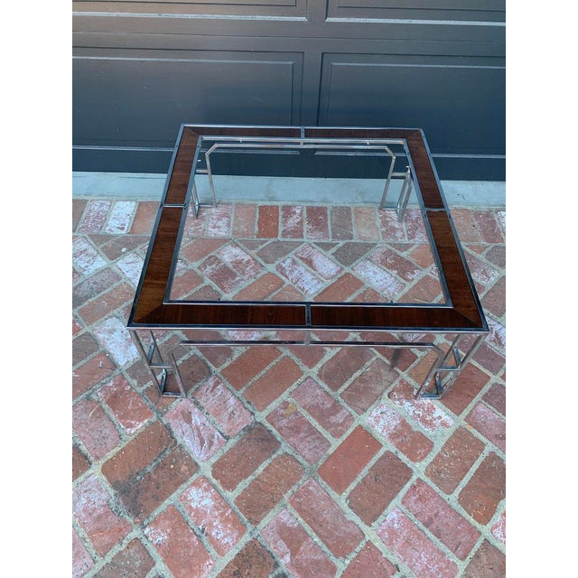 Hollywood Regency 1950s Vintage Milo Baughman Square Coffee Table For Sale - Image 3 of 5