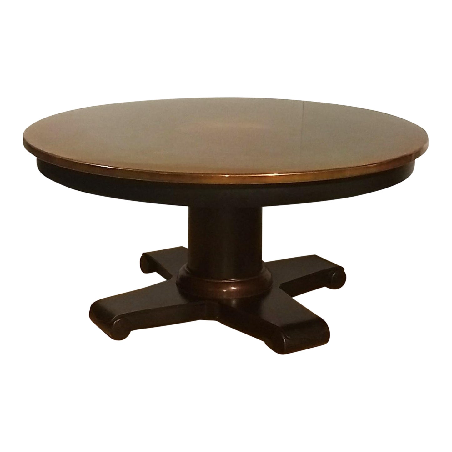 Crate Barrel Collina Round Copper Topped Coffee Table With Black Metal Base Chairish