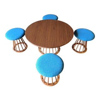 Mid Century Refinished Walnut Game Table With 4 Spindle Base Stools by Arthur Umanoff For Sale