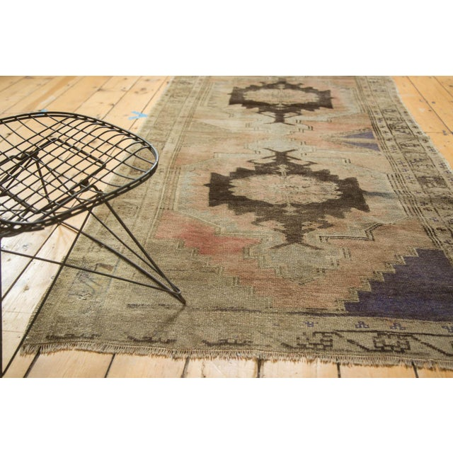 "Vintage Distressed Oushak Rug Runner - 3'7"" x 8' - Image 9 of 10"