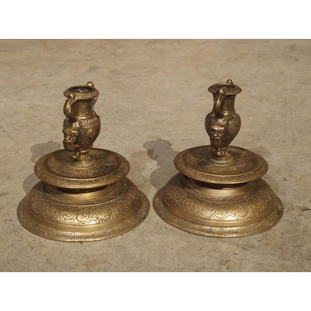 Pair of Antique French Renaissance Style Bronze Candlesticks, 19th Century For Sale - Image 10 of 13