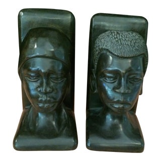20th Century African Carved Ebony Bookends - a Pair For Sale