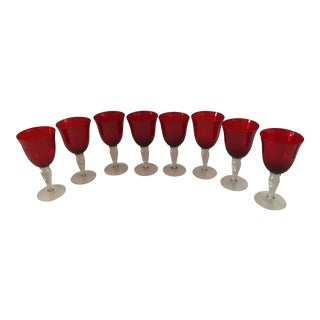 Vintage Handblown Red Goblets - Set of 8 For Sale