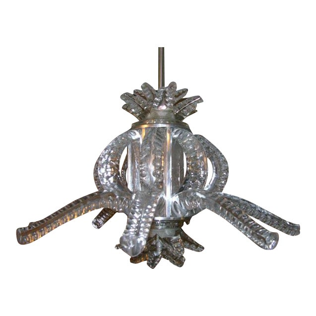 1950s Crystal Chandelier by Marc Lalique For Sale