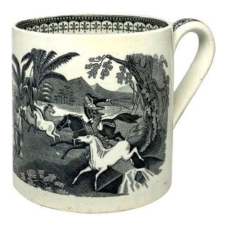 19th Century Egersunds Fayance Fabric Norwegian Ceramic Horse Round Up Mug For Sale