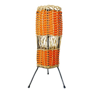 1950s French Wicker Accent Lamp with Shade For Sale