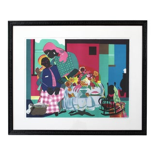 Mid-Century Modern Framed Lithograph Signed Romare Bearden 60/175 For Sale