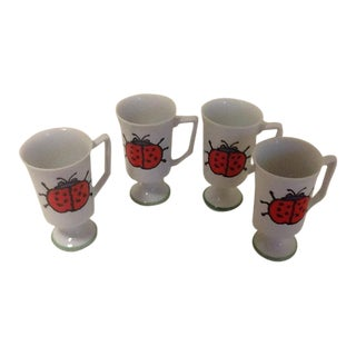 1970's Vintage Ross Havers Ladybug Mugs - Set of 4 For Sale