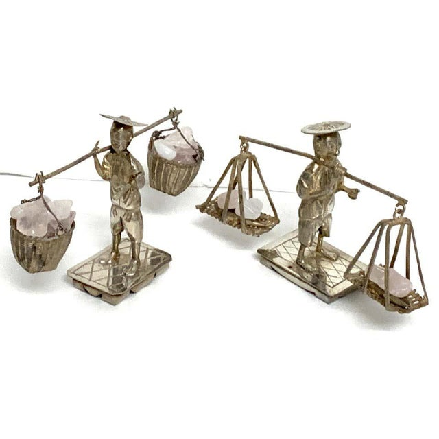 Chinese Chinese Export Sterling Figures of Labourers Carrying Rose Quartz - a Pair For Sale - Image 3 of 13