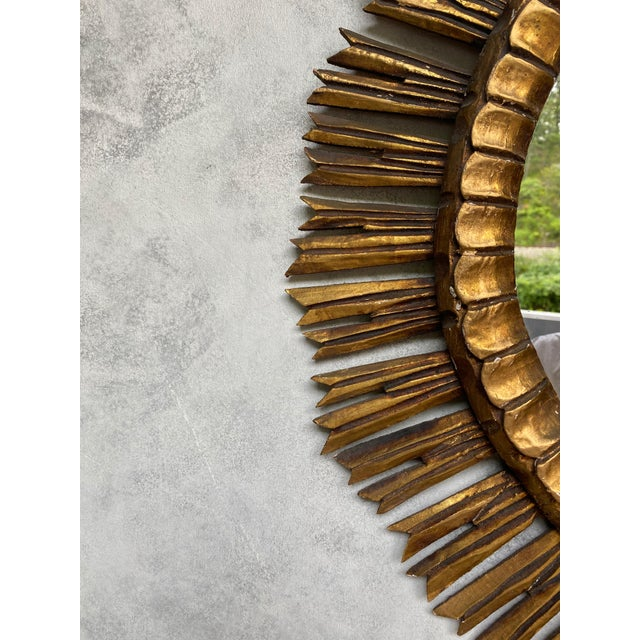 Wood Spanish Giltwood Sunburst Mirror For Sale - Image 7 of 12