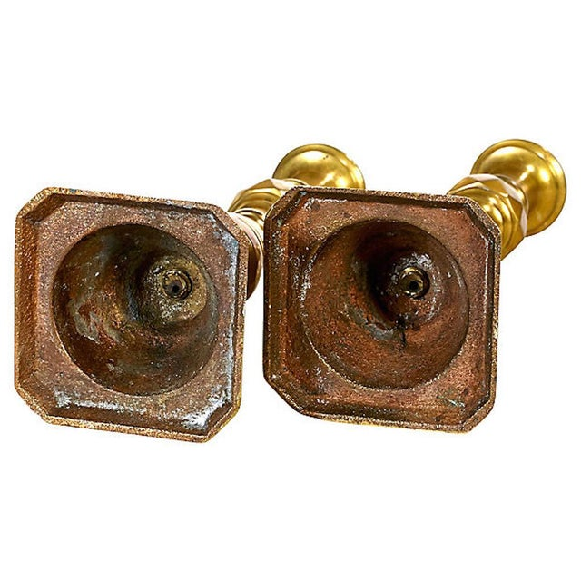 Early 20th C. Brass Candleholders, Pair For Sale - Image 4 of 5