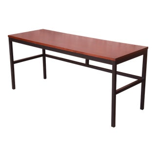 Milo Baughman for Directional Walnut and Black Lacquer Writing Desk, Newly Refinished For Sale