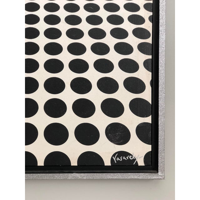 1980s Black and White Op Art Painting in the Manner of Vasarely For Sale - Image 5 of 7