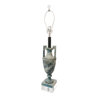 Vintage 1920s Louis XVI Style Lamp Urn Form Blue and Gray Marble on Lucite Base For Sale