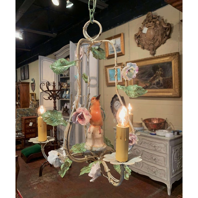 Early 20th Century French Painted Chandelier With Porcelain Bird and Flowers For Sale - Image 5 of 10