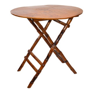 Vintage Handcrafted Round Bamboo Bistro Folding Table, Center Table X-Base For Sale