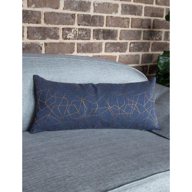 Blue & Gold Hexagons Lumbar Pillow For Sale In Raleigh - Image 6 of 7