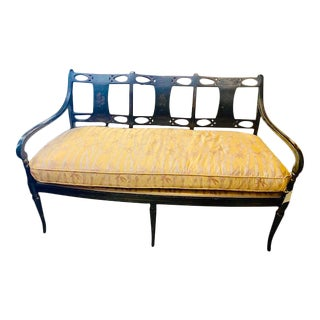 19th C. English Black Painted Settee With Flower Motif For Sale