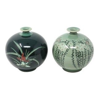 Vintage Asian Green Round Heavy Vases With Floral Designs - Set of 2 For Sale