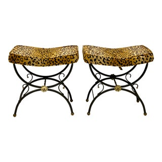 Vintage Italian Neo-Classical Style Leopard Benches - a Pair For Sale