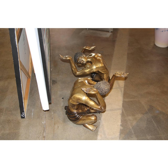 Metal Brass Blackamoor Coffee Table Bases- A Pair For Sale - Image 7 of 8