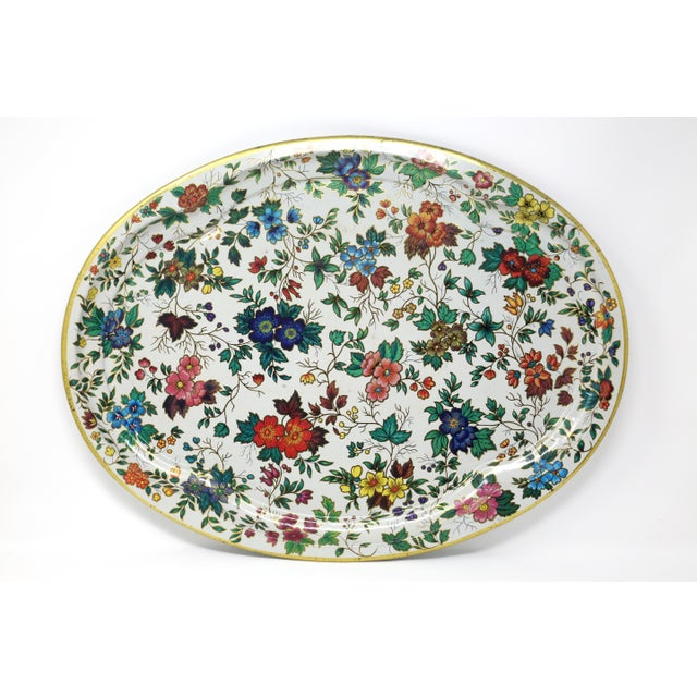 White Vintage Chintz Floral Metal Tray by Daher For Sale - Image 8 of 11