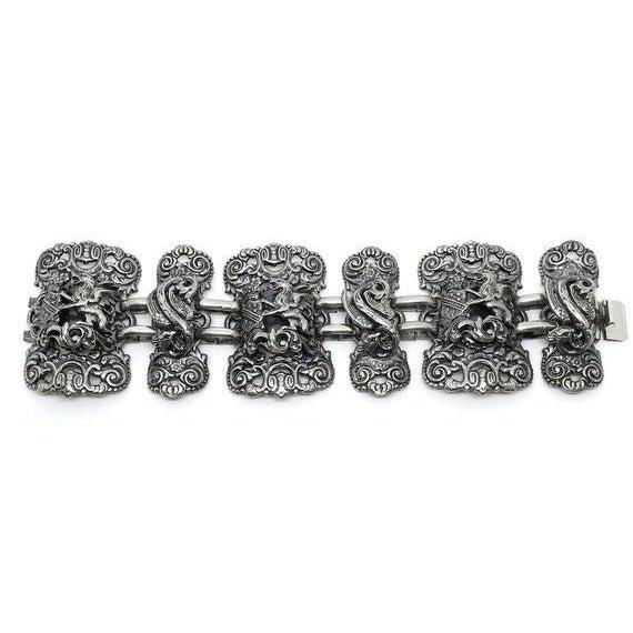 Traditional Napier Silvertone Griffon Bracelet For Sale - Image 3 of 4