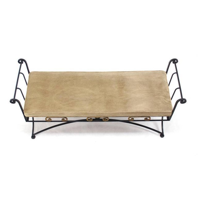 Early 20th Century Wrought Iron Fine Ornate Design Hollywood Regency Window Bench For Sale - Image 5 of 5