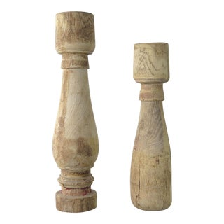 Modern Reclaimed Wood Candle Holders - A Pair For Sale