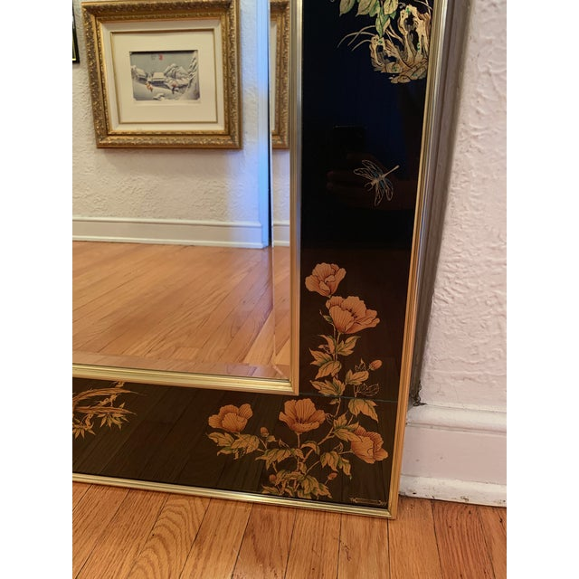 Labarge LaBarge Chinoiserie Style Eglomise Black Mirror For Sale - Image 4 of 10