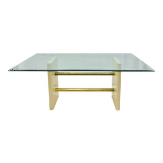 Vintage Mid Century Modern Brass & Beveled Glass Dining Table For Sale