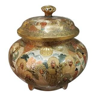 Circa 1880 Japanese Satsuma Porcelain Shimazu Clan Gilded Arhats Motif Koro Incense Censer For Sale