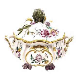 Edme Samson Veuve Perrin Faience Large Vegetable Motif Tureen For Sale