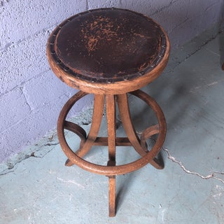 1930s Vintage Primitive Leather and Wood Industrial Swivel Stool Preview