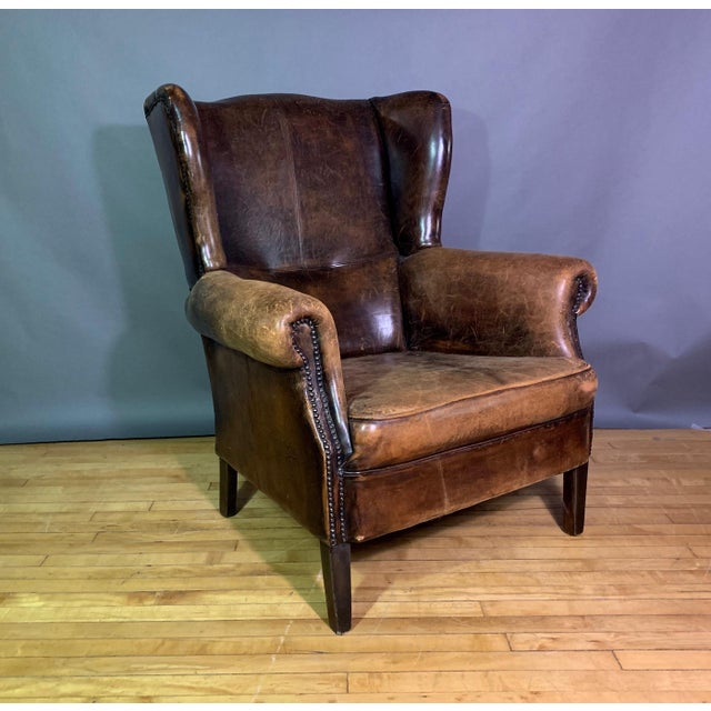 Vintage Stitched-Leather Wing Chair, 20th Century For Sale - Image 11 of 11