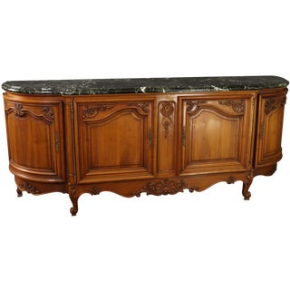 Sideboard Louis XV Rococo Green Marble Top Walnut For Sale