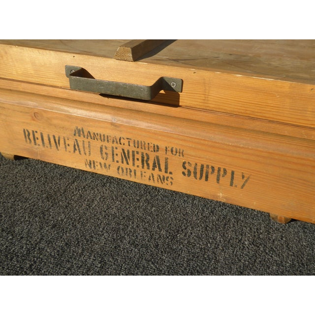 Wood Vintage Industrial Tools Supplies Storage Box for Beliveau General Supply For Sale - Image 7 of 13