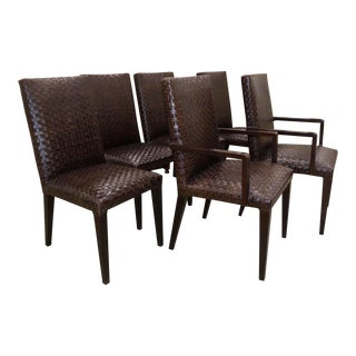 Stone International Italian Woven Leather Dining Chairs - Set of 6 For Sale