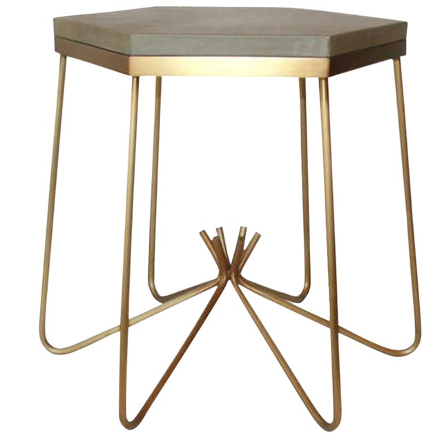 Customizable Richer Leather Top Side Table For Sale