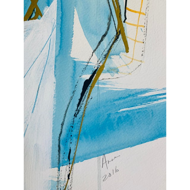 """""""Figure with Blue and Gold"""" is a quick gesture study from a live model using India Inks and paint by Anne Darby Parker..."""
