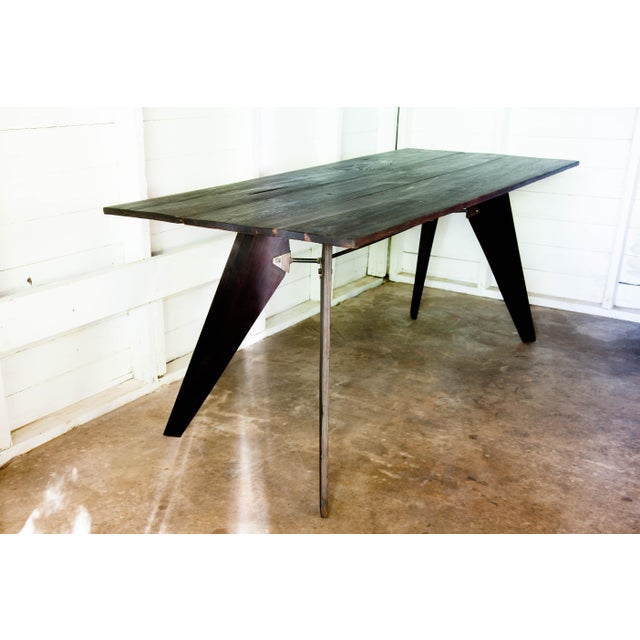 """Mid-Century Handmade Black Dining Utility Table 71"""" For Sale - Image 9 of 12"""